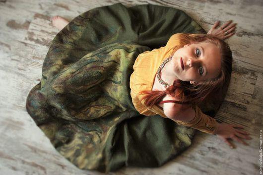 Юбки ручной работы. Ярмарка Мастеров - ручная работа. Купить Войлочная юбка-шар Дорога в лесу. Handmade. Тёмно-зелёный