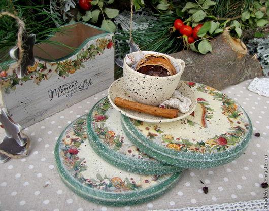 """Кухня ручной работы. Ярмарка Мастеров - ручная работа. Купить Подставки под чашку ароматного чая из коллекции """"Мой зеленый Новый год. Handmade."""