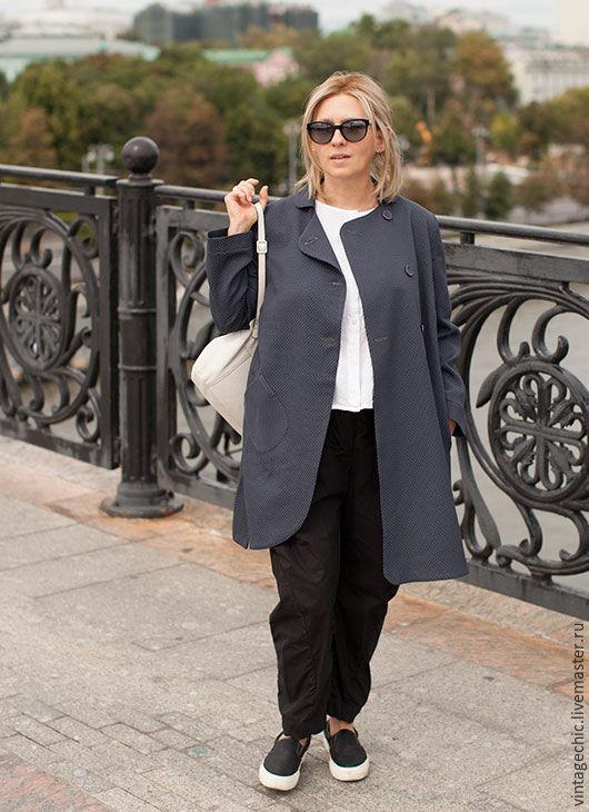 Верхняя одежда ручной работы. Ярмарка Мастеров - ручная работа. Купить Легкое пальто из серо-синего жаккарда art.125b. Handmade.