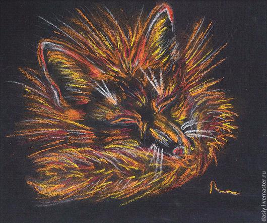 """Животные ручной работы. Ярмарка Мастеров - ручная работа. Купить Картина пастелью """"Пушистый"""". Handmade. Черный, лис, лисенок, сон"""