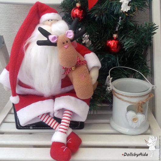 Новый год 2017 ручной работы. Ярмарка Мастеров - ручная работа. Купить Санта. Handmade. Ярко-красный, подарок на новый год, флис