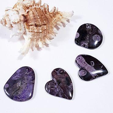 Materials for creativity handmade. Livemaster - original item Pendants of black and purple fossilized coral. Handmade.