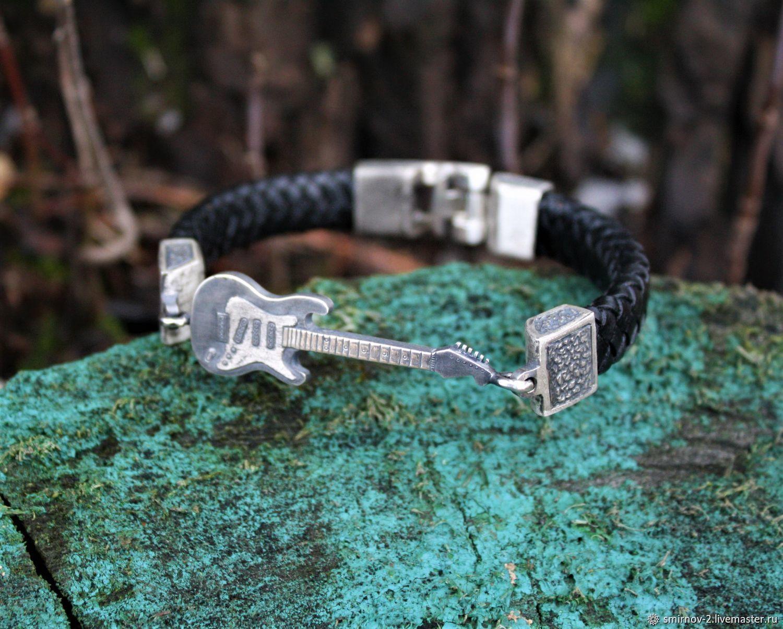 Bracelet hard rock Guitar leather 925 silver, Braided bracelet, Moscow,  Фото №1