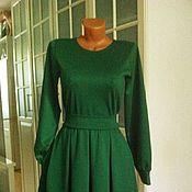 Одежда ручной работы. Ярмарка Мастеров - ручная работа Трикотажное платье миди с юбкой в складку Изумруд. Handmade.