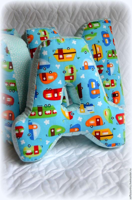 Детская ручной работы. Ярмарка Мастеров - ручная работа. Купить Буквы подушки для Димы.. Handmade. Буквы-подушки, подушки для мальчика
