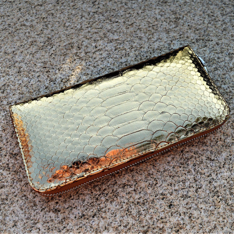 Women's Python leather wallet GOLD, Wallets, Krasnodar,  Фото №1