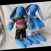 Куклы и игрушки ручной работы. Ярмарка Мастеров - ручная работа Голубые зайки. Handmade.