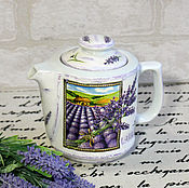 Посуда handmade. Livemaster - original item Kettle a field of Lavender decoupage. Handmade.