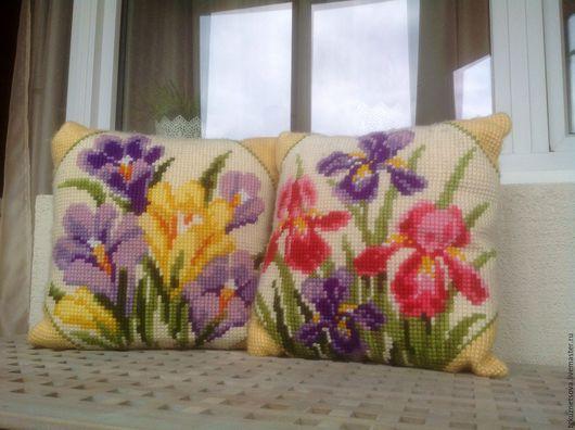 Текстиль, ковры ручной работы. Ярмарка Мастеров - ручная работа. Купить Декоративные подушки ручная вышивка. Handmade. Комбинированный