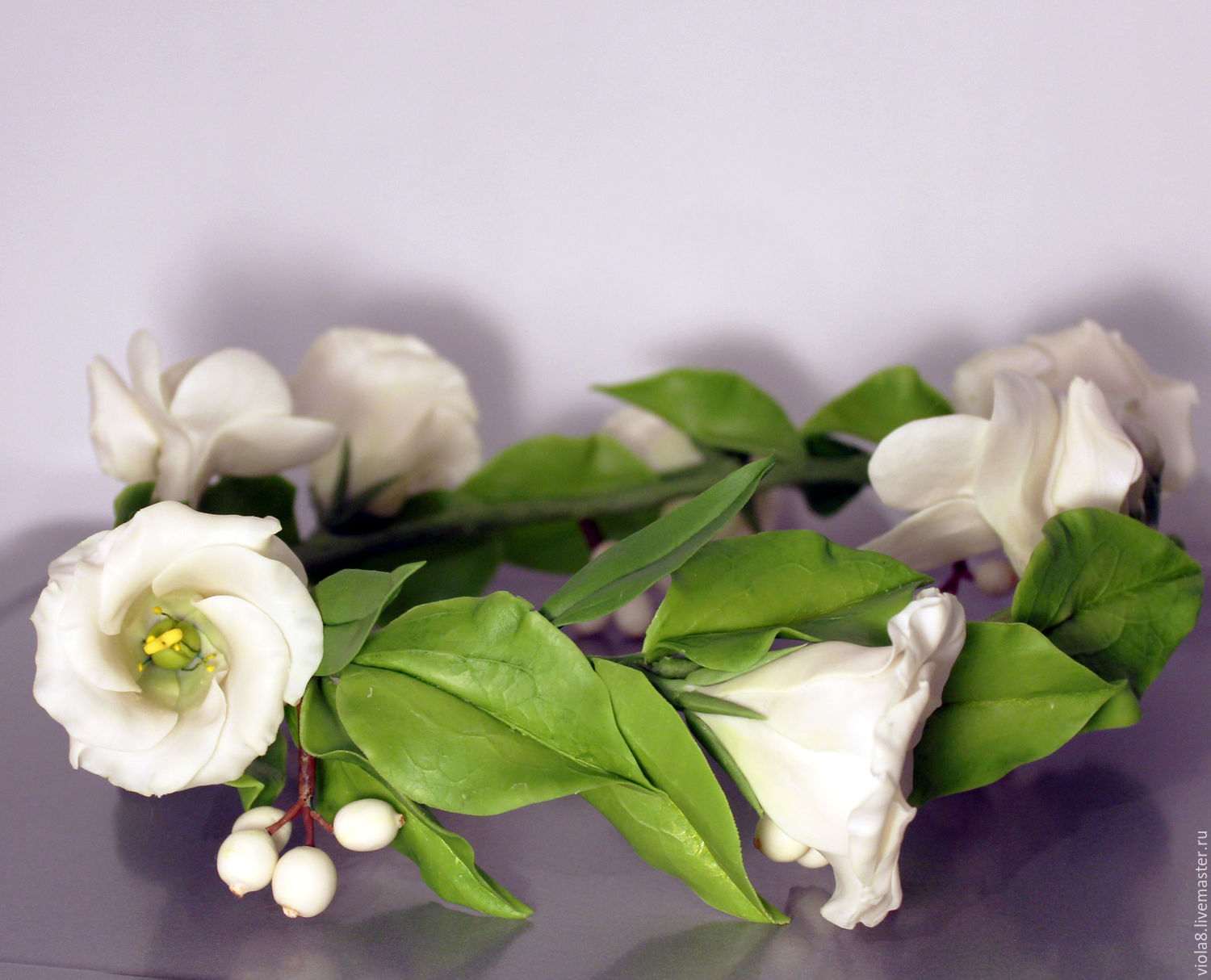 Wreath For Hair With Eustoma And Fresia A Wreath Of Flowerspolymer