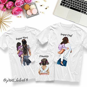 Одежда ручной работы. Ярмарка Мастеров - ручная работа Семейная футболка для мамы, для папы и для дочки. Handmade.