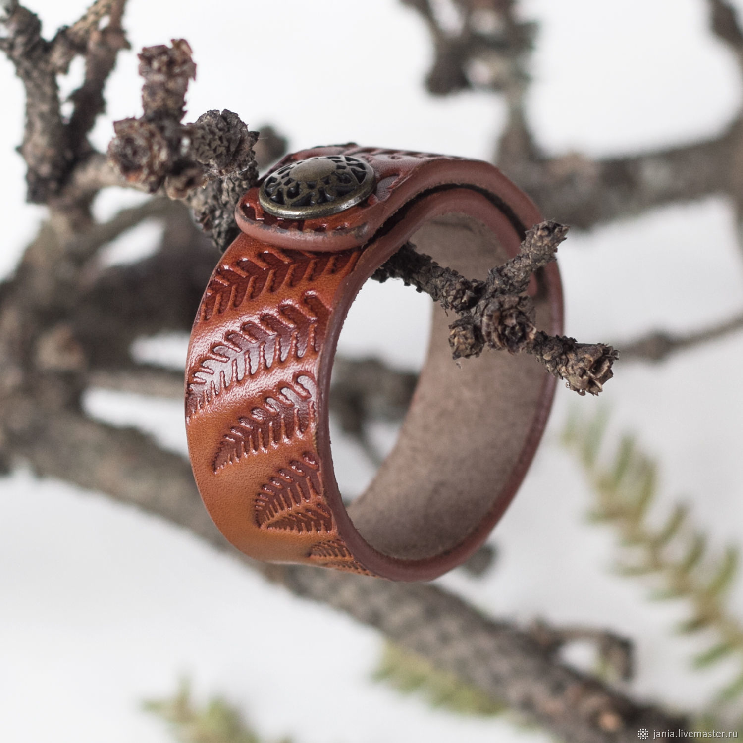Orange Brown Cuff Bracelet with Snap Closure, Cuff bracelet, Ivanovo,  Фото №1