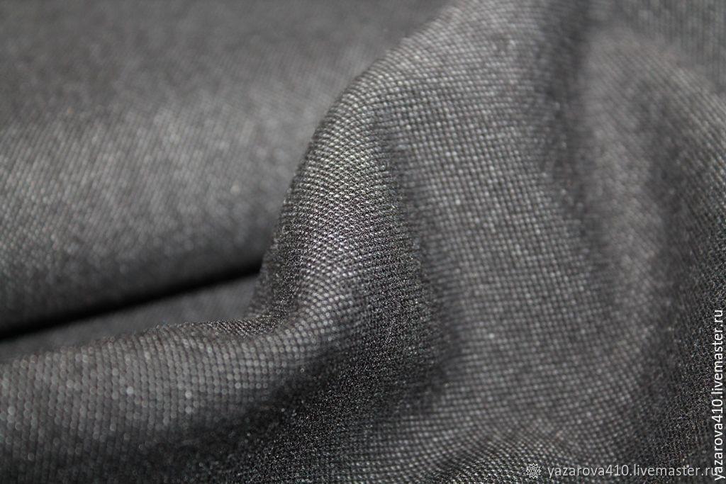 Ткань,костюмная, очень тёмно-серая, смесовая, Испания, Ткани, Чебоксары,  Фото №1