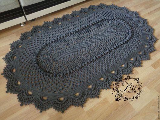 """Текстиль, ковры ручной работы. Ярмарка Мастеров - ручная работа. Купить Вязаный ковер """"Феерия"""". Handmade. Темно-серый, вязаный"""