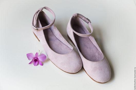 Обувь ручной работы. Ярмарка Мастеров - ручная работа. Купить Балетки из натруальной замши. Handmade. Бледно-сиреневый, балетки из замши