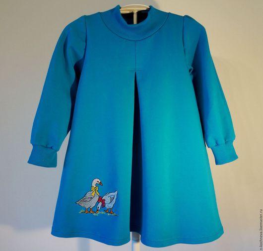 Одежда для девочек, ручной работы. Ярмарка Мастеров - ручная работа. Купить Детское платье трикотажное с гусями. Handmade. детское платье