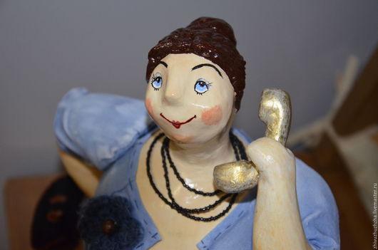 Человечки ручной работы. Ярмарка Мастеров - ручная работа. Купить Интерьерная кукла папье- маше Зина. Handmade. Синий