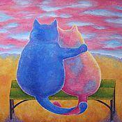 """Картины ручной работы. Ярмарка Мастеров - ручная работа Картина """"Влюбленные коты"""". Handmade."""