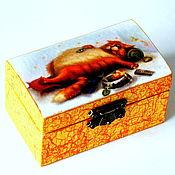 """Для дома и интерьера ручной работы. Ярмарка Мастеров - ручная работа Шкатулка """"...нас и здесь неплохо кормят"""". Handmade."""