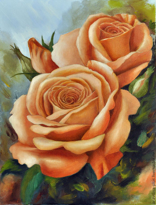 """Картины цветов ручной работы. Ярмарка Мастеров - ручная работа. Купить Картина маслом """"Ванильные розы"""". Handmade. Бежевый"""