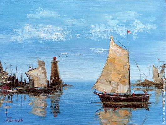 Пейзаж ручной работы. Ярмарка Мастеров - ручная работа. Купить Картина Море, лодки, парус (маяк). Handmade. Картина в подарок