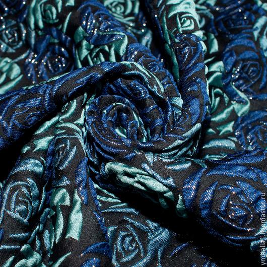 Шитье ручной работы. Ярмарка Мастеров - ручная работа. Купить Жаккард шелковый синий CAROLINA HERRERA. Handmade. Именная ткань