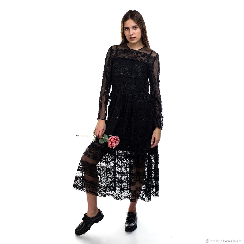 Черное кружевное коктейльное платье в пол – купить в интернет-магазине на Ярмарке  Мастеров с 03e7497b36f