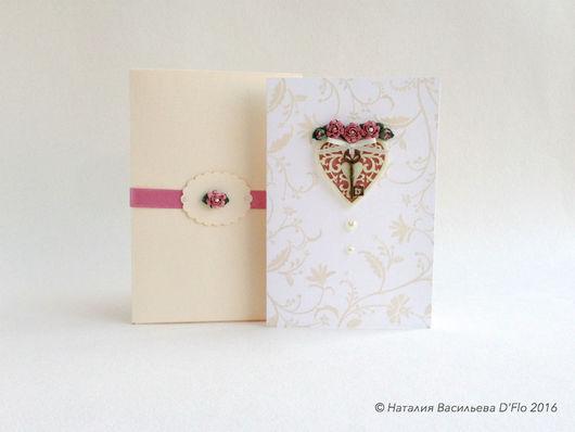 Авторская открытка с цветами ручной работы, в футляре и с конвертом для денежного подарка.