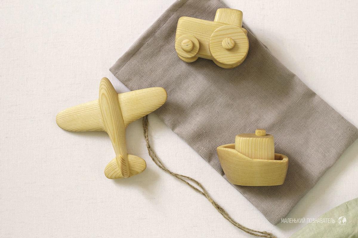Деревянные игрушки (трактор, корабль, самолет), Техника роботы транспорт, Чебоксары,  Фото №1