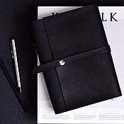Канцелярские товары handmade. Livemaster - original item Leather notebook on the rings with strap and magnetic button. Handmade.
