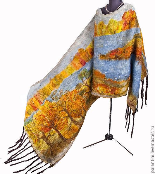 """Шали, палантины ручной работы. Ярмарка Мастеров - ручная работа. Купить """"Осенний пейзаж""""-картина палантин двухсторонний. Handmade. Палантин"""