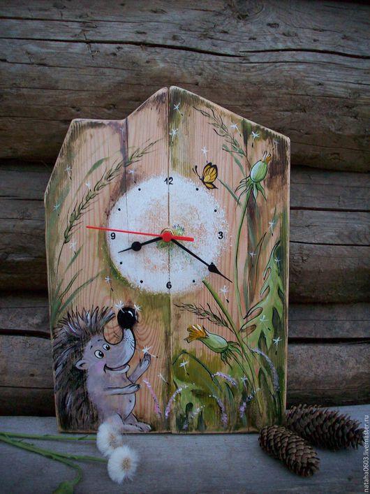 Часы для дома ручной работы. Ярмарка Мастеров - ручная работа. Купить Время одуванчиков......Часы на старинном дереве. Роспись.. Handmade.