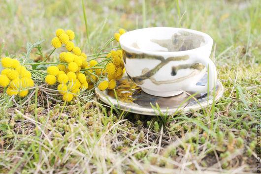 Сервизы, чайные пары ручной работы. Ярмарка Мастеров - ручная работа. Купить Чайная пара Бронзовый рассвет. Handmade. Белый