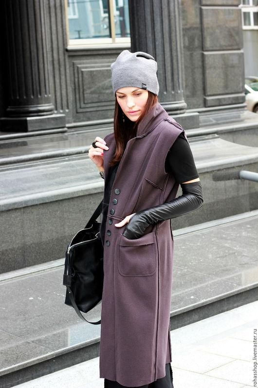 R00065 Кашемировое пальто-жилет без рукавов. Шерстяное пальто на пуговицах. Пальто осеннее из шерсти. Красивое дизайнерское пальто в стиле гранж.