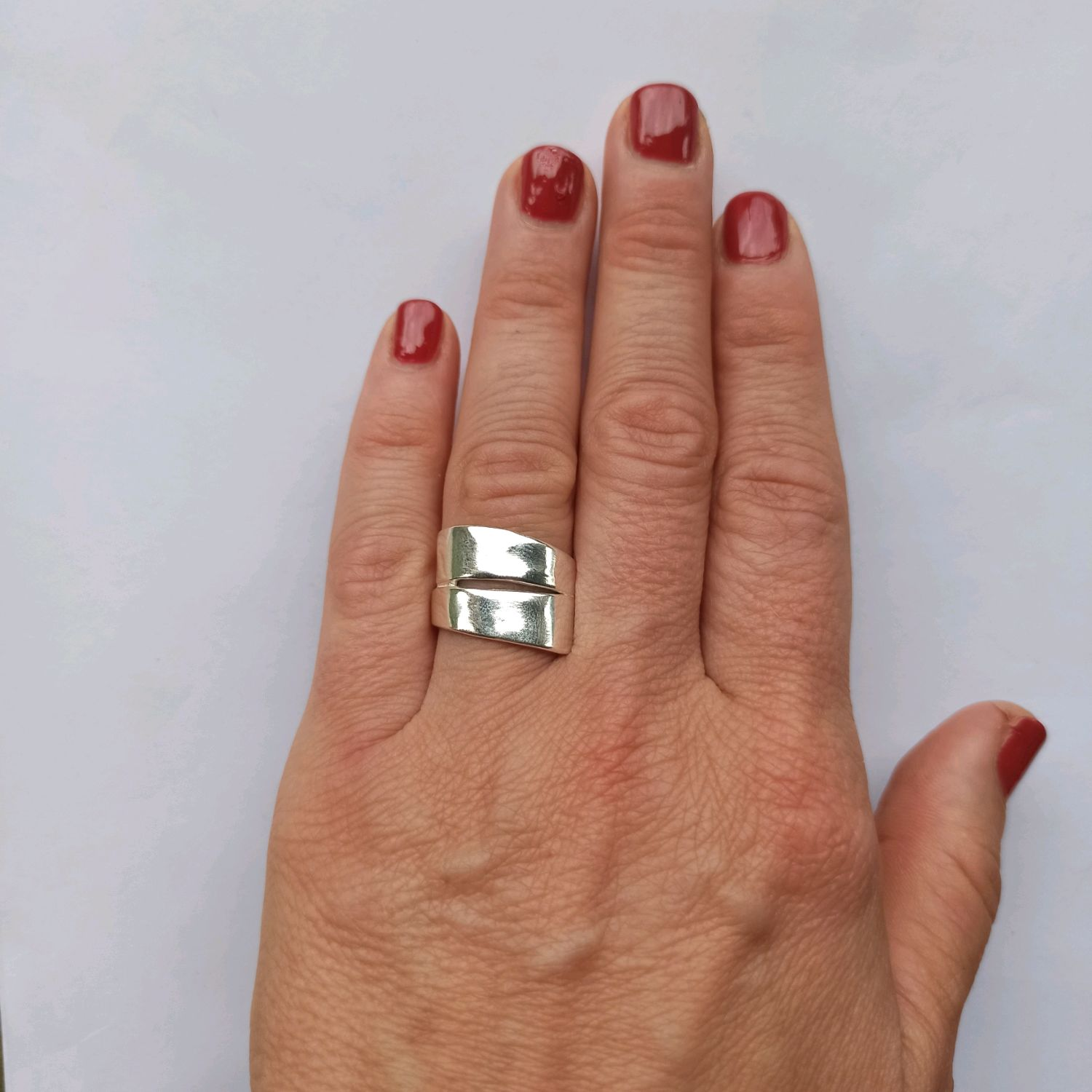 Unusual Double ring. Silver 925 sample. Fashionable ring, Rings, Turin,  Фото №1