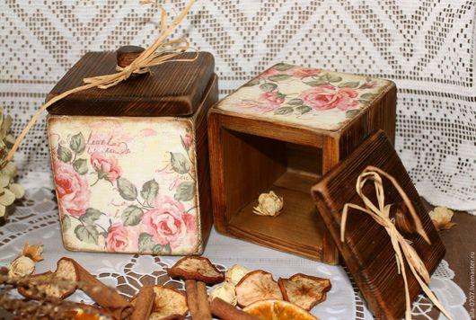 """Кухня ручной работы. Ярмарка Мастеров - ручная работа. Купить """"Медовые розы"""" Кухонные коробочки. Handmade. Декупаж, цветы, специи"""