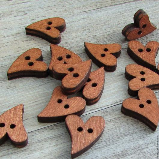 Пуговица деревянная. Пуговица Сердце, темное дерево, 270