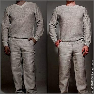 Одежда ручной работы. Ярмарка Мастеров - ручная работа Джемпер мужской из 100%льняной пряжи с длинным рукавом. Handmade.