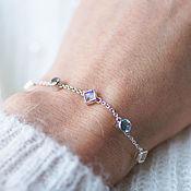 Украшения handmade. Livemaster - original item Delicate silver bracelet with a string of Topaz and moonstones. Handmade.