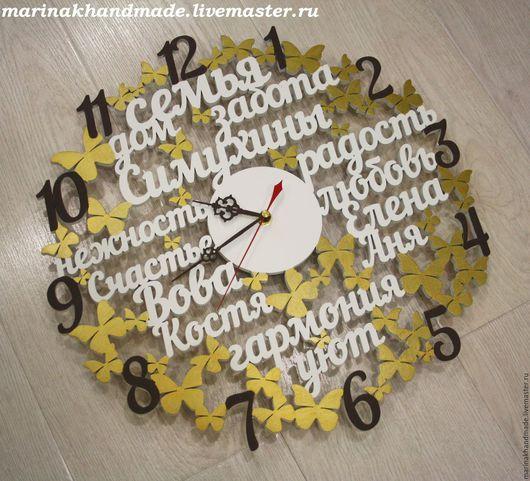 Часы для дома ручной работы. Ярмарка Мастеров - ручная работа. Купить Часы. Handmade. Белый, коричневый, золотистый, часы настенные