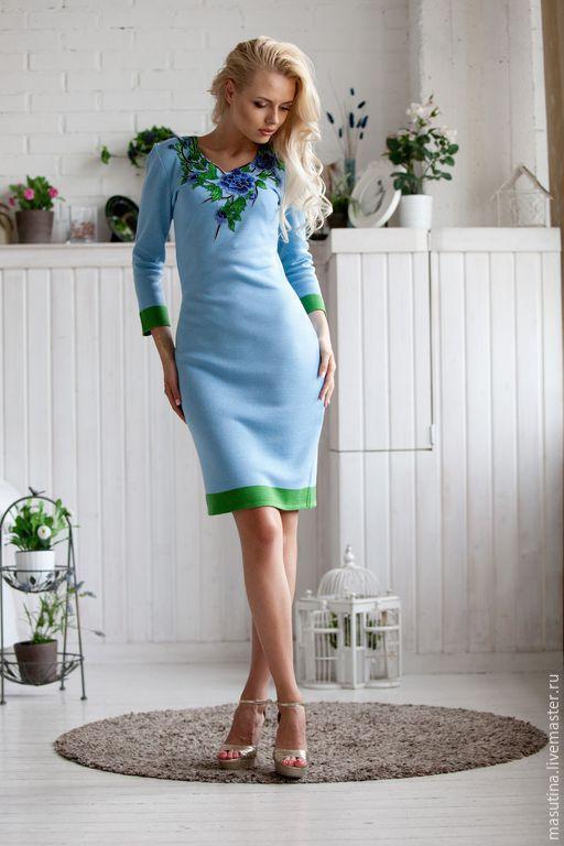 """Платья ручной работы. Ярмарка Мастеров - ручная работа. Купить Платье """"Голубые озера"""". Handmade. Голубой, вязаное платье 2015"""