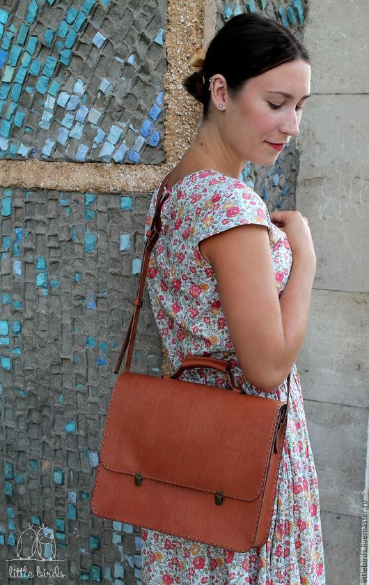 Женские сумки ручной работы. Ярмарка Мастеров - ручная работа. Купить Портфель кожаный женский. Handmade. Бежевый, портфель из кожи