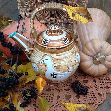 Посуда ручной работы. Ярмарка Мастеров - ручная работа «Осень в деревне». Подарочный чайник или кофейник.. Handmade.