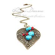 Украшения handmade. Livemaster - original item Suspension Leaf coral turquoise bronze berry colors red blue fishnet. Handmade.