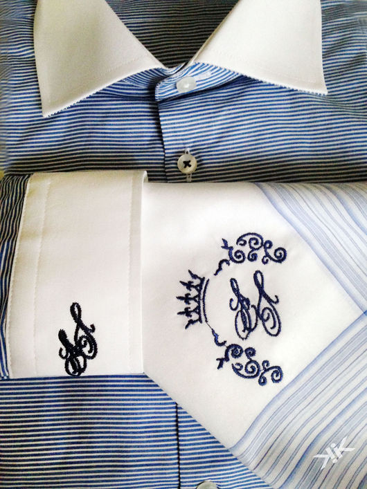 Для мужчин, ручной работы. Ярмарка Мастеров - ручная работа. Купить Вышивка инициалов на мужской рубашке . Монограмма. Handmade. Вышивка