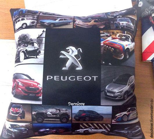 Автомобильные ручной работы. Ярмарка Мастеров - ручная работа. Купить Подушка с логотипом Пежо Peugeot подушка в машину подарок мужчине. Handmade.