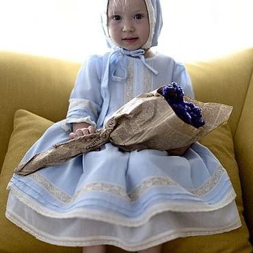"""Работы для детей, ручной работы. Ярмарка Мастеров - ручная работа Голубое крестильное  платье """"Чудо моё"""". Handmade."""