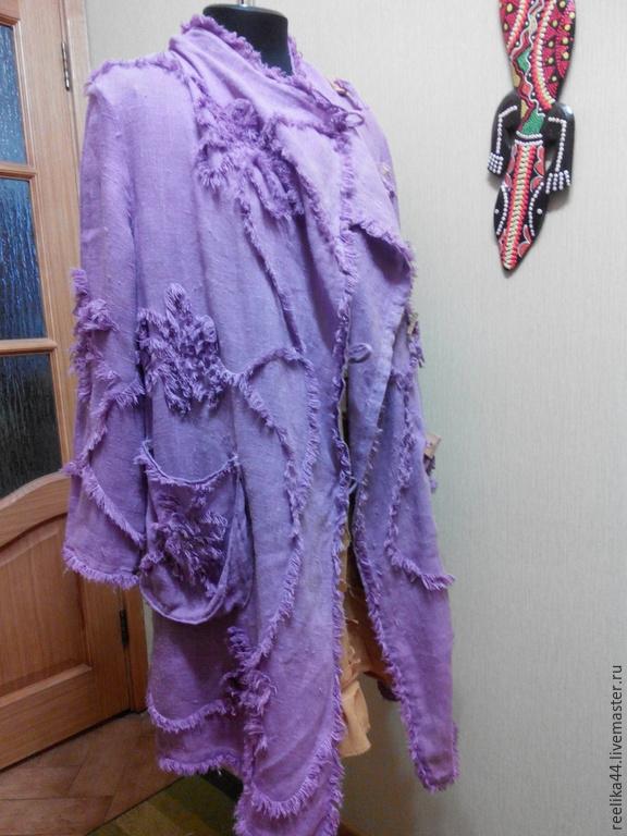 """Верхняя одежда ручной работы. Ярмарка Мастеров - ручная работа. Купить Летнее пальто из вареного льна """"Сирень"""". Handmade. Сиреневый"""