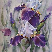 Картины и панно handmade. Livemaster - original item Painting with Irises flowers (pastel lilac white green). Handmade.