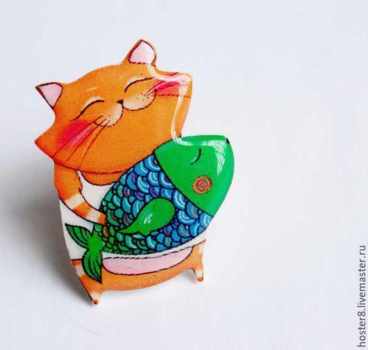 """Броши ручной работы. Ярмарка Мастеров - ручная работа. Купить Брошь """"Котя с рыбкой"""". Handmade. Зеленый, котя, кот в подарок"""